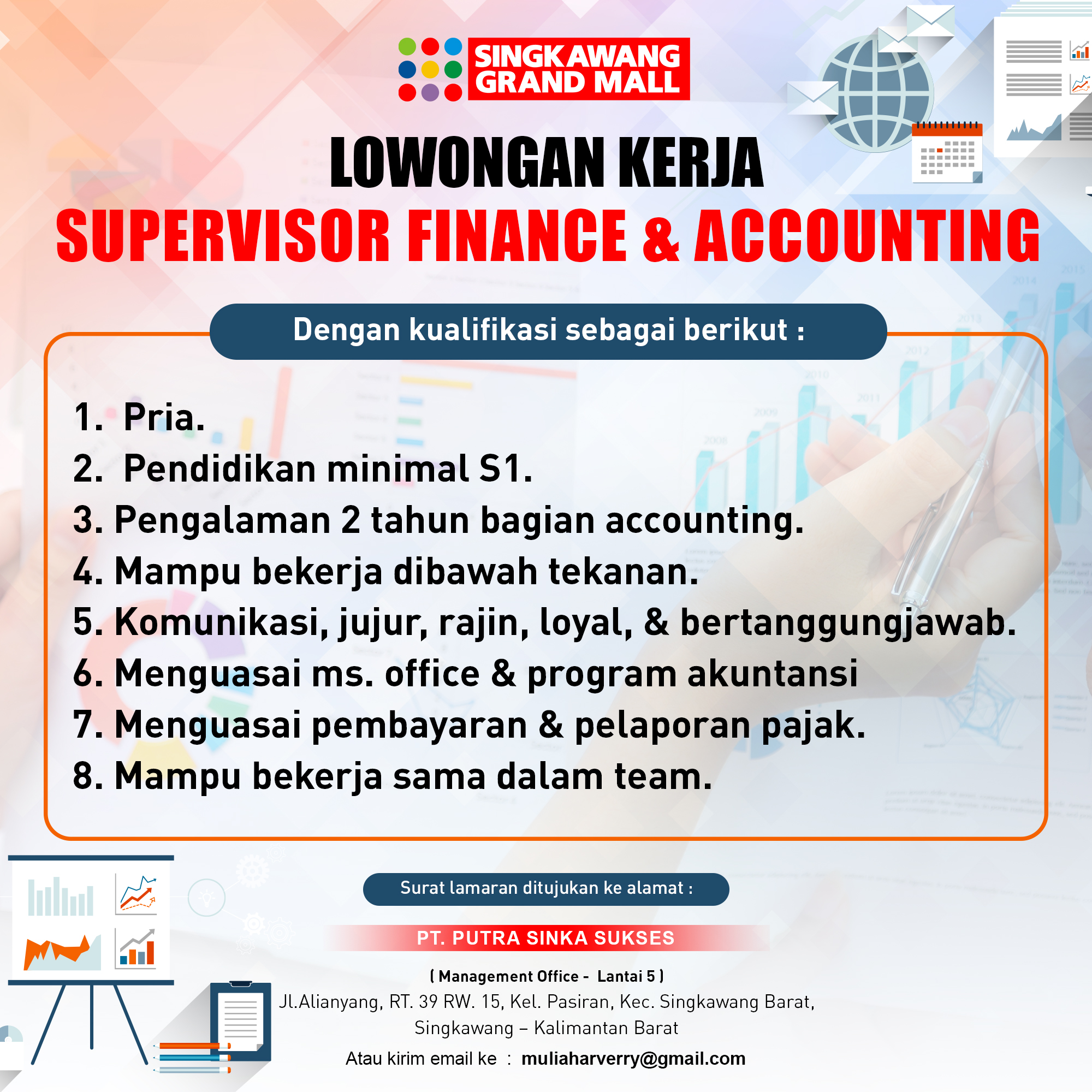 Lowongan Supervisor Finance & Accounting Singkawang Grand Mall